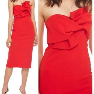 Topshop Organza Bow Front Midi Dress